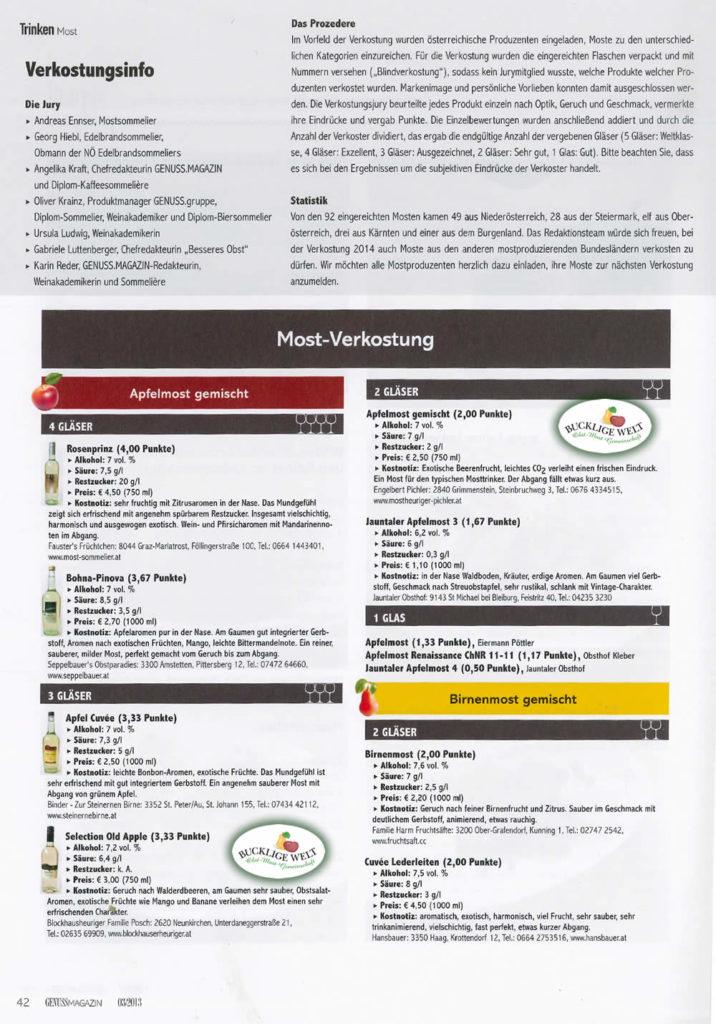 Most-Award im GenussMagazin 2013